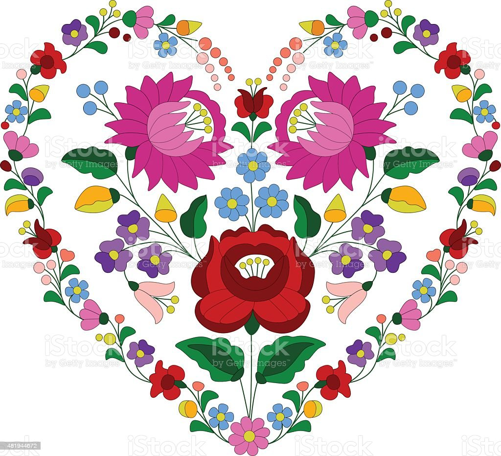 Heart made with Hungarian embroidery pattern vector art illustration