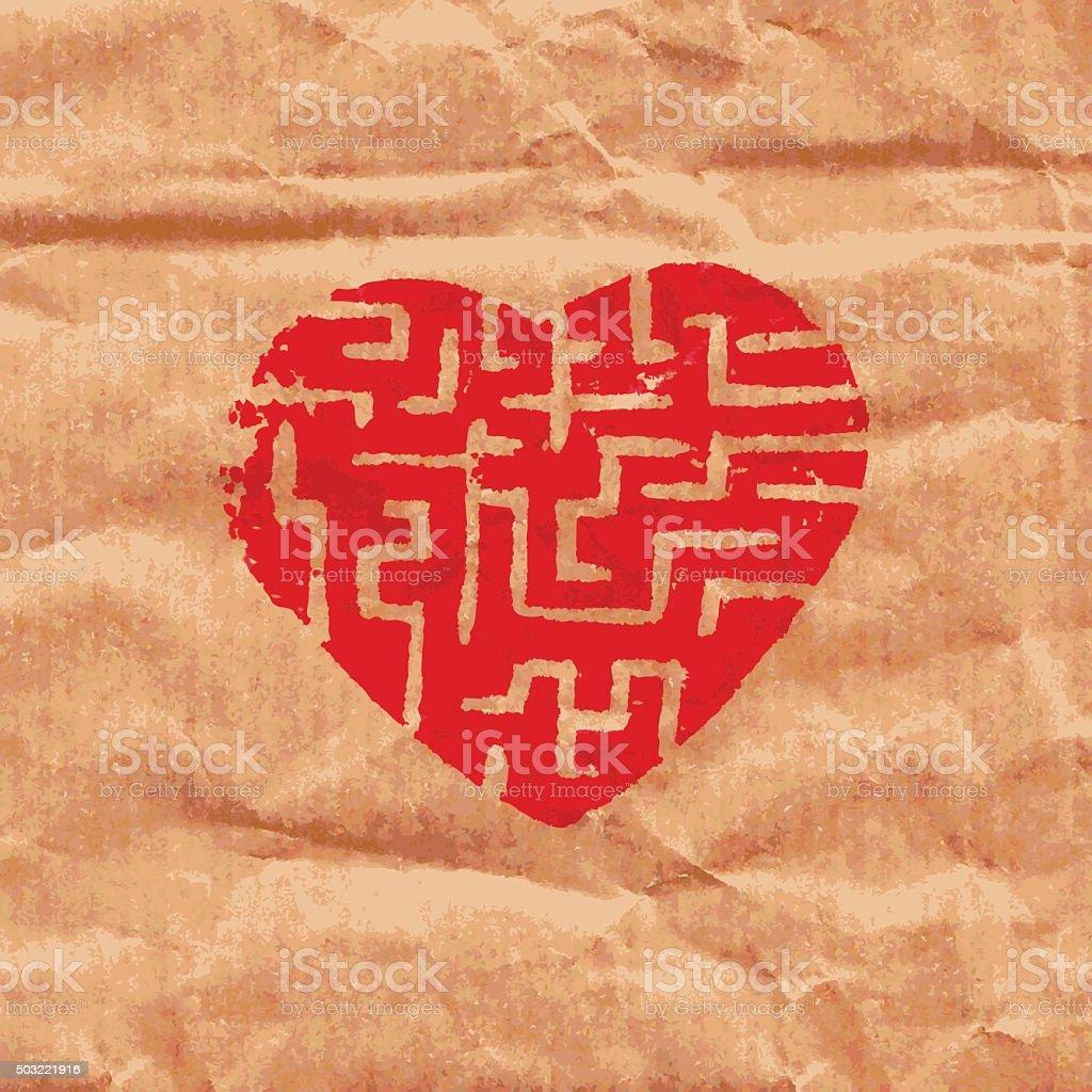 heart maze vector art illustration