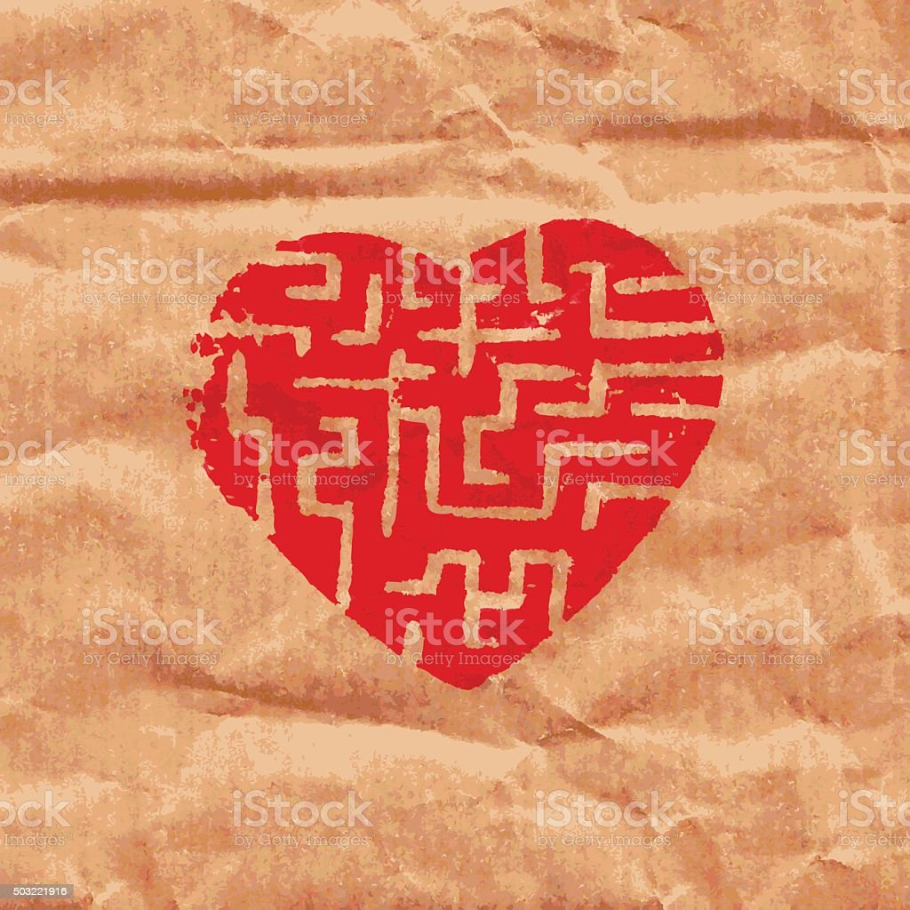 heart maze vector art illustration