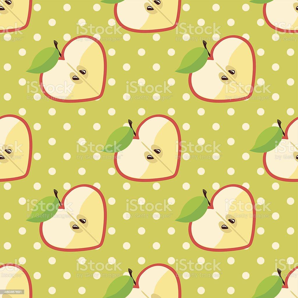 Heart of apples in seamless pattern on polka dot background vector art illustration