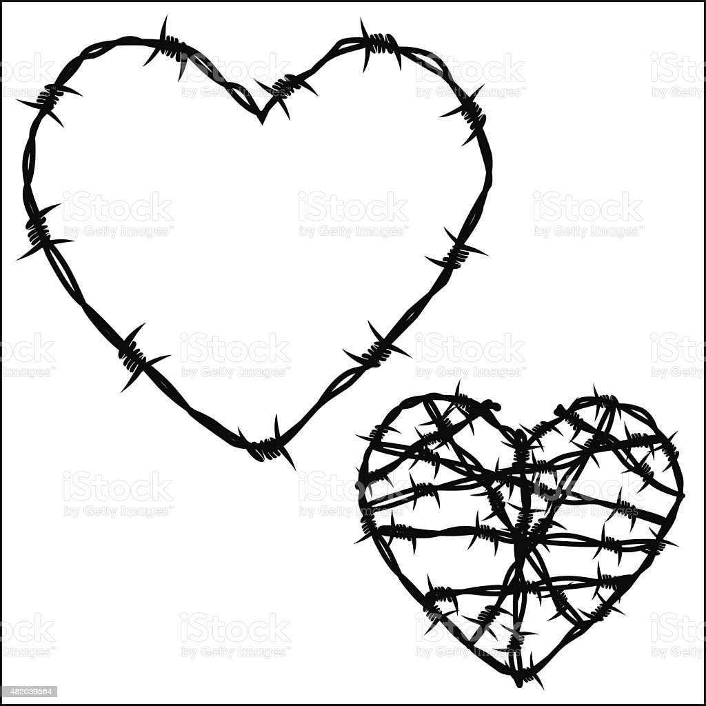 Heart of barbed wire vector art illustration