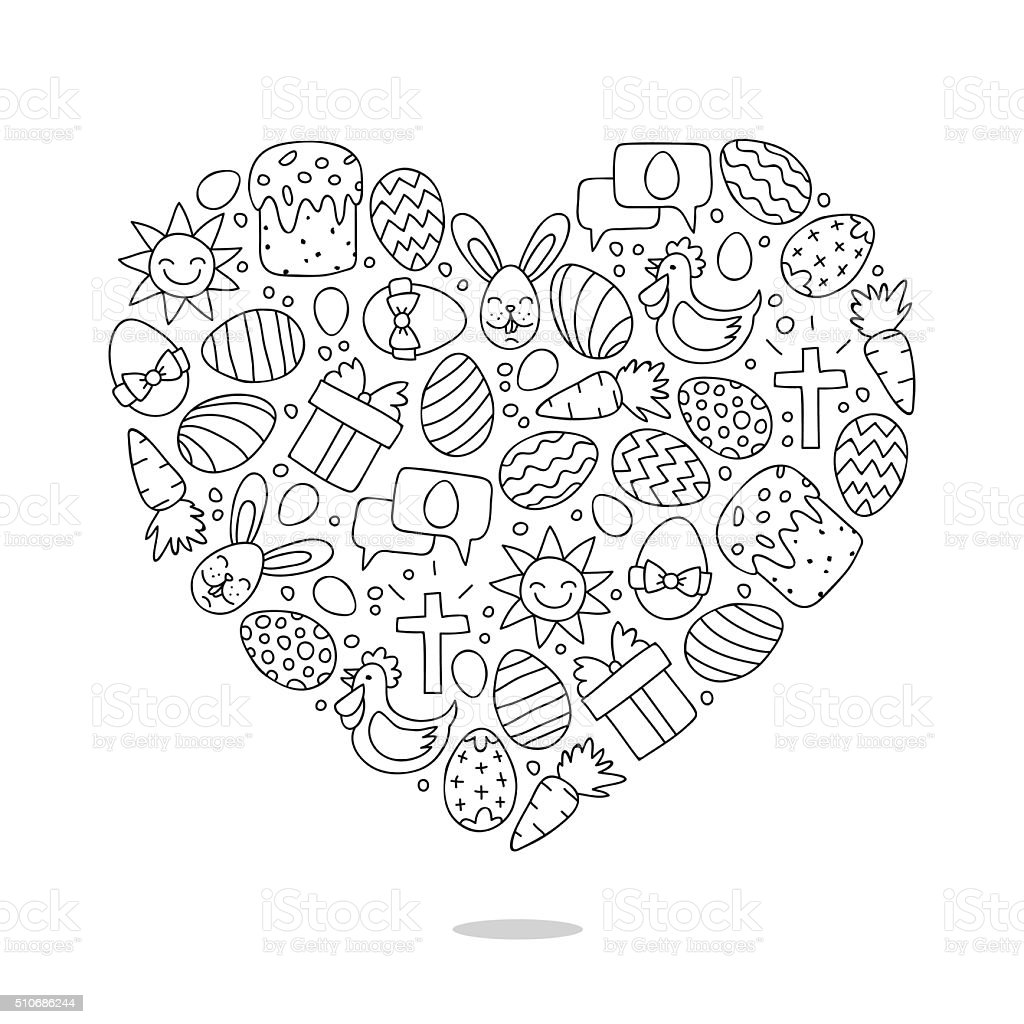Heart of Easter icons. Great card for the Easter holiday vector art illustration