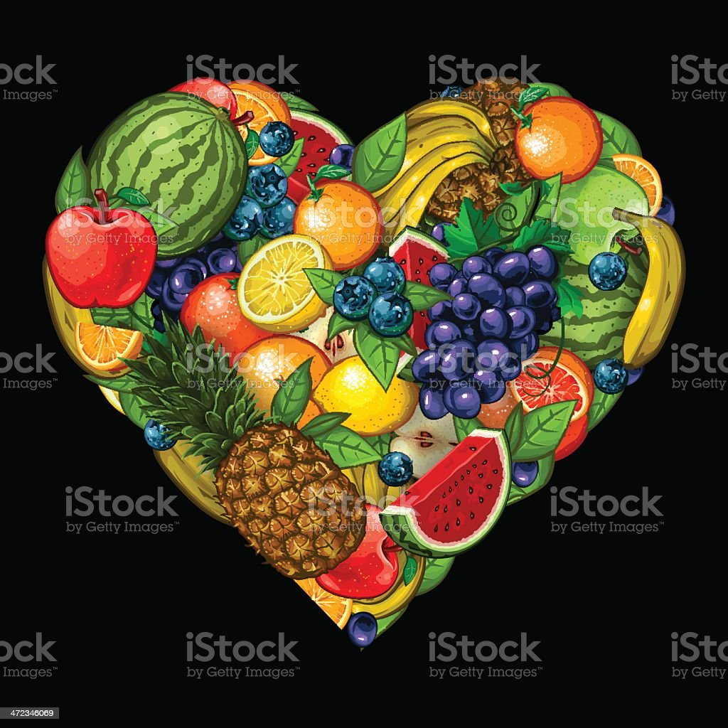 Heart of Fruits vector art illustration