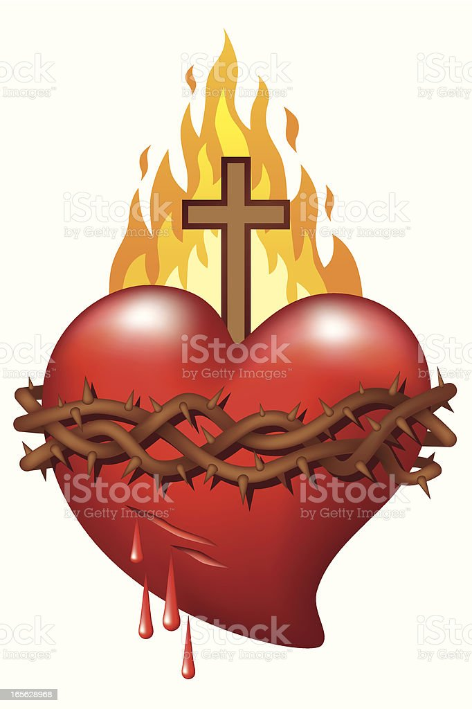 Heart of Jesus vector art illustration