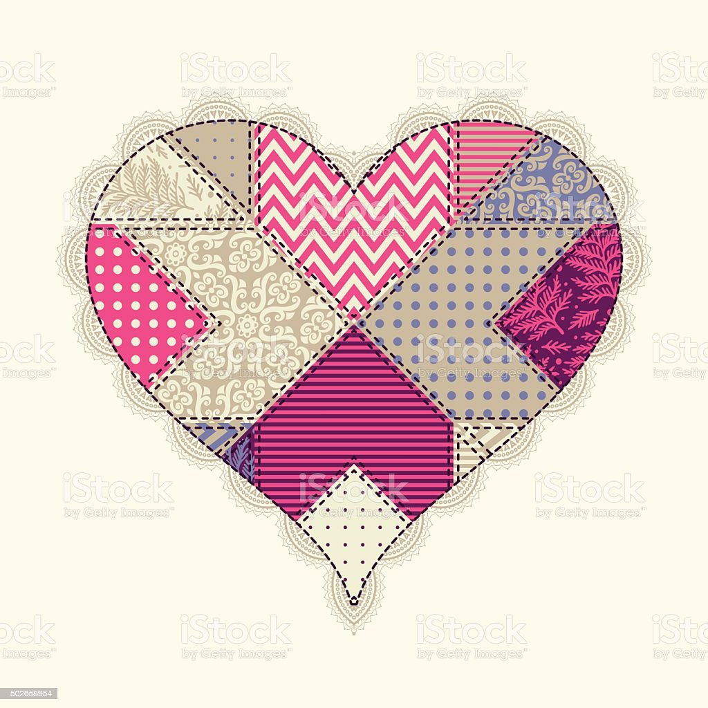 Heart of patches vector art illustration