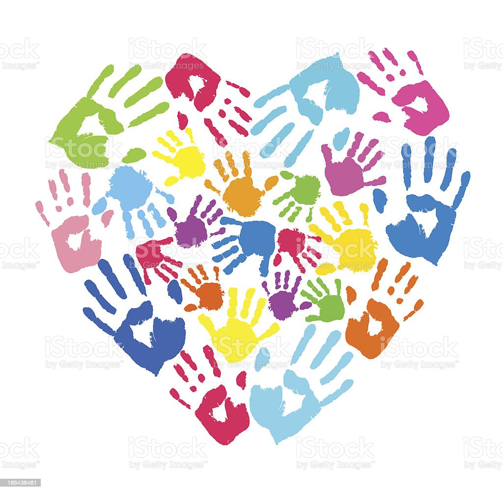 Heart of the color handprints royalty-free stock vector art