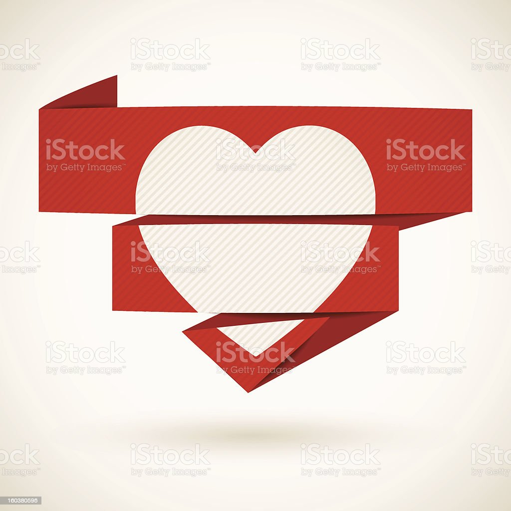 Heart on a folded paper royalty-free stock vector art