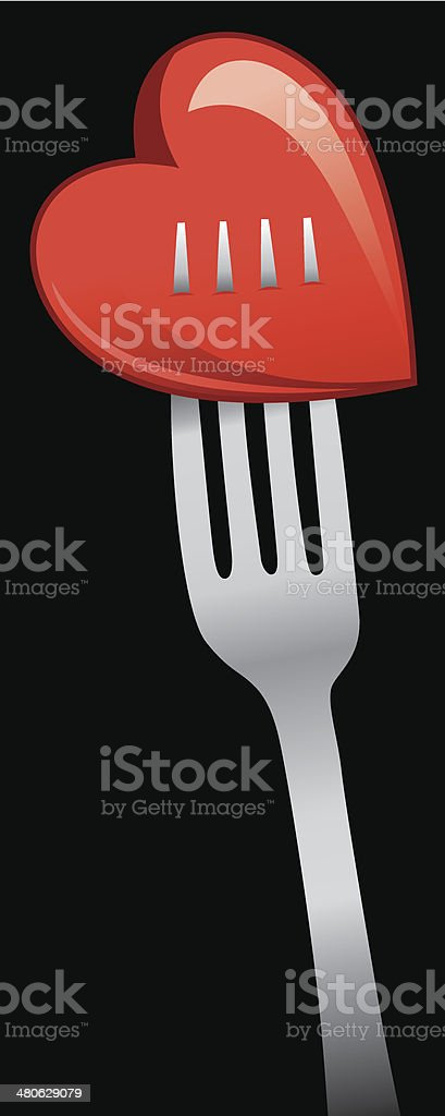 Heart On Fork royalty-free stock vector art
