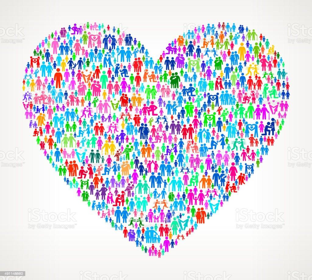 Heart on White vector family pattern Background vector art illustration