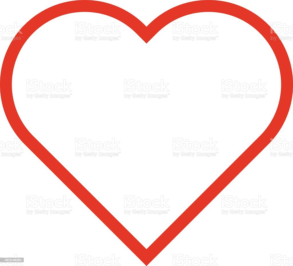 Heart outline icon, modern minimal flat design style. Love symbol vector art illustration