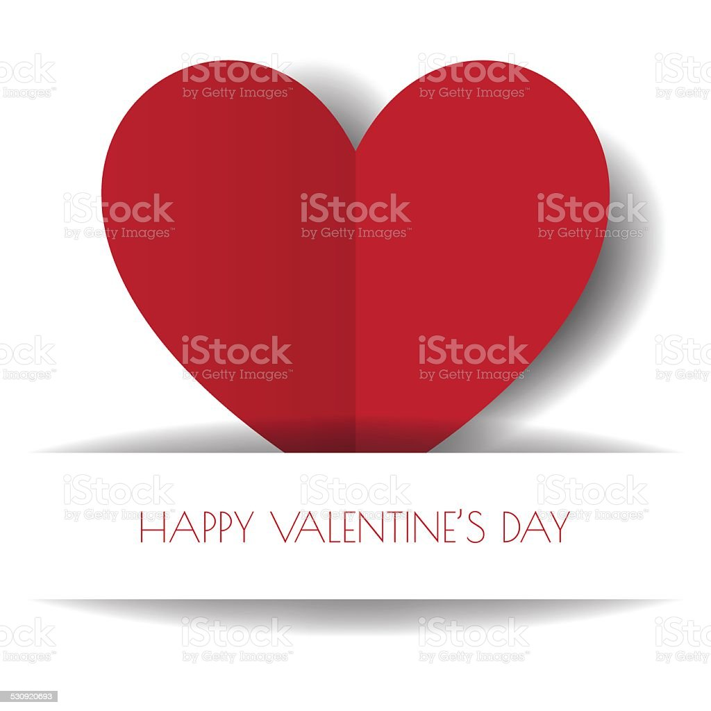 Heart Paper Sticker With Shadow Valentine's day vector illustrat vector art illustration