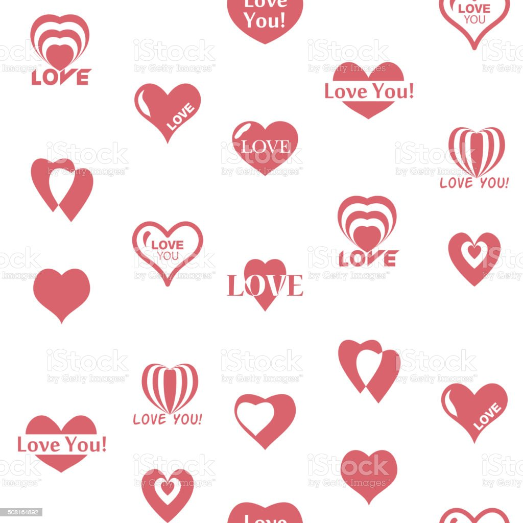 Heart pattern to Valentines Day. Seamless texture with Hearts vector art illustration
