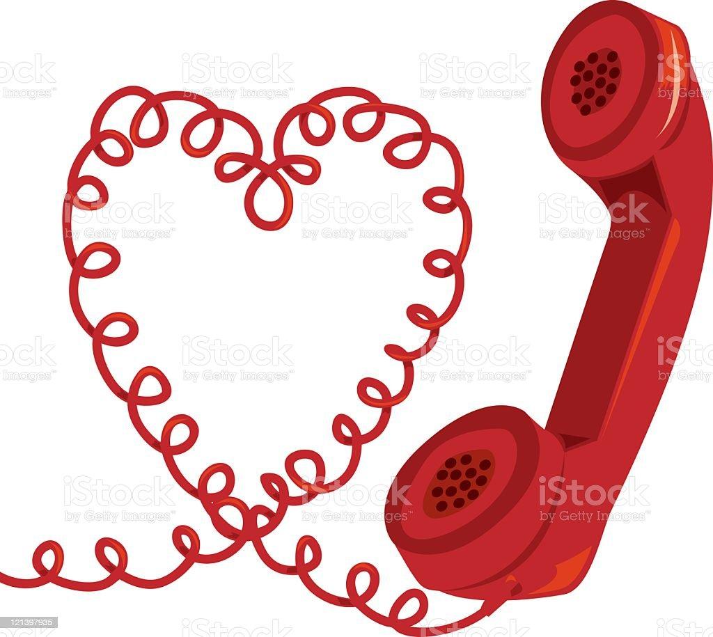 Heart Phone vector art illustration