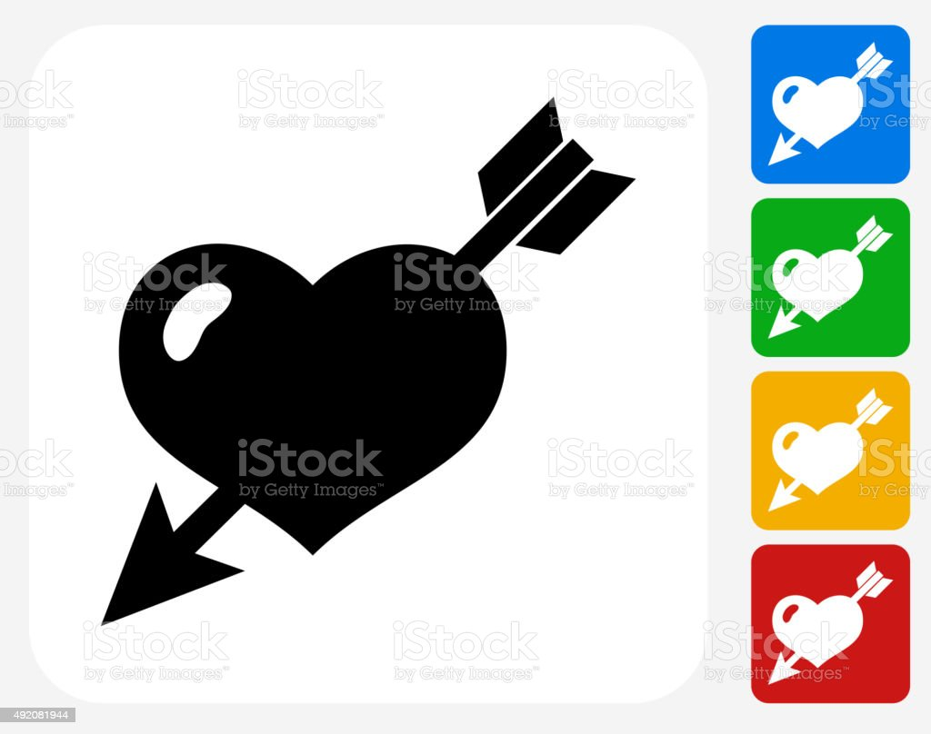Heart Pierced With Arrow Icon Flat Graphic Design vector art illustration