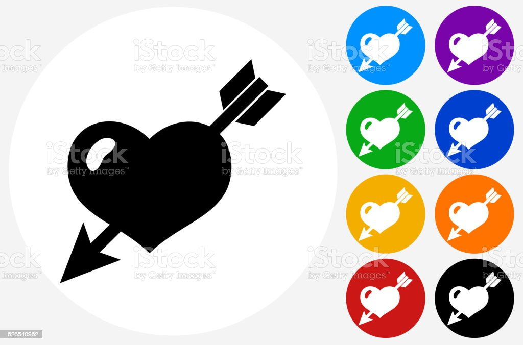 Heart Pierced With Arrow Icon on Flat Color Circle Buttons vector art illustration