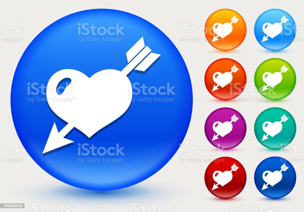 Heart Pierced With Arrow Icon on Shiny Color Circle Buttons vector art illustration
