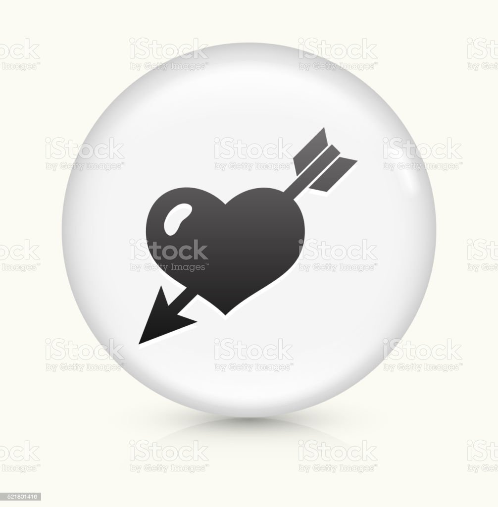 Heart Pierced With Arrow icon on white round vector button vector art illustration
