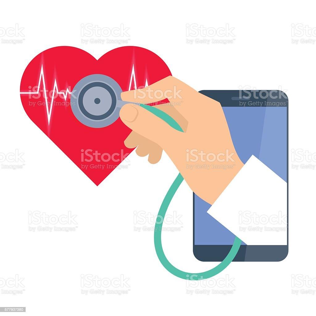 Heart pulse examination by phone. Telemedicine and telehealth. vector art illustration