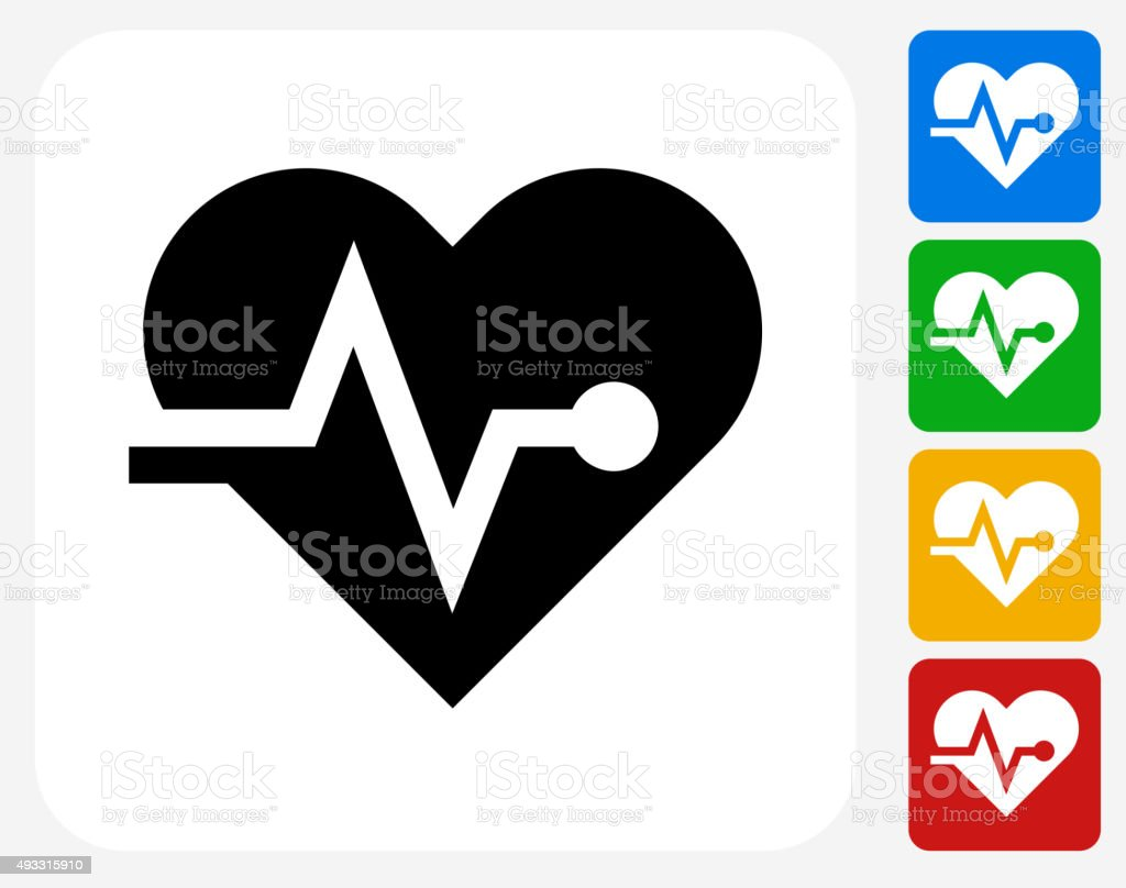 Heart Pulse Icon Flat Graphic Design vector art illustration