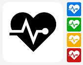 Heart Pulse Icon Flat Graphic Design