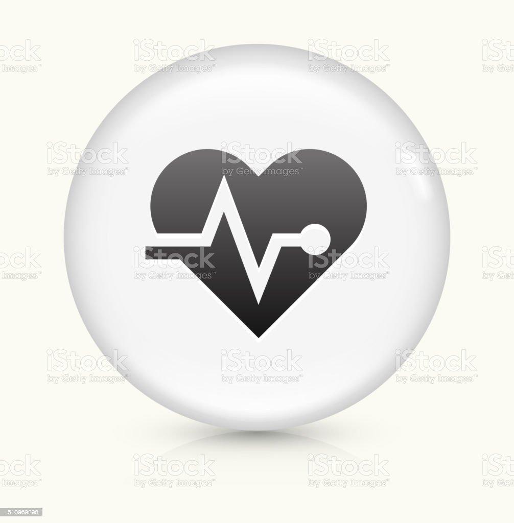 Heart Pulse icon on white round vector button vector art illustration