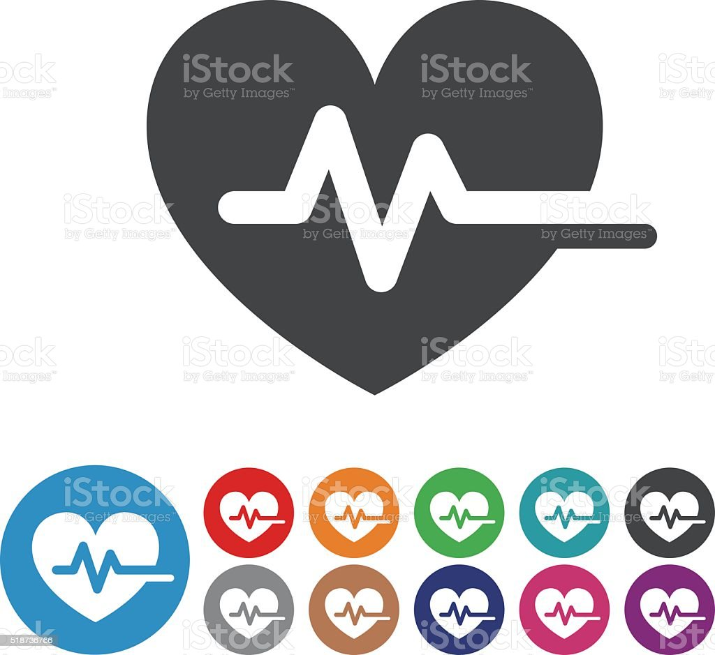 Heart Pulse Icons - Graphic Icon Series vector art illustration