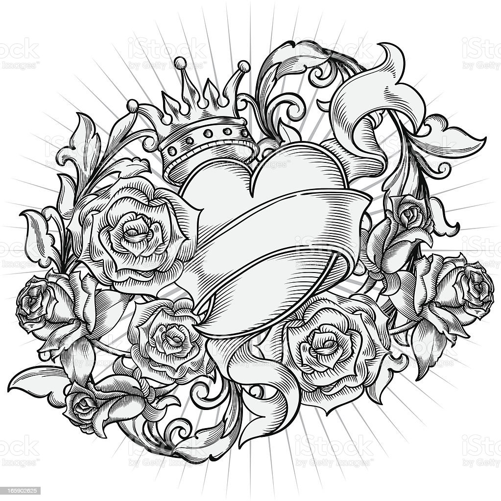 Heart & Roses royalty-free stock vector art