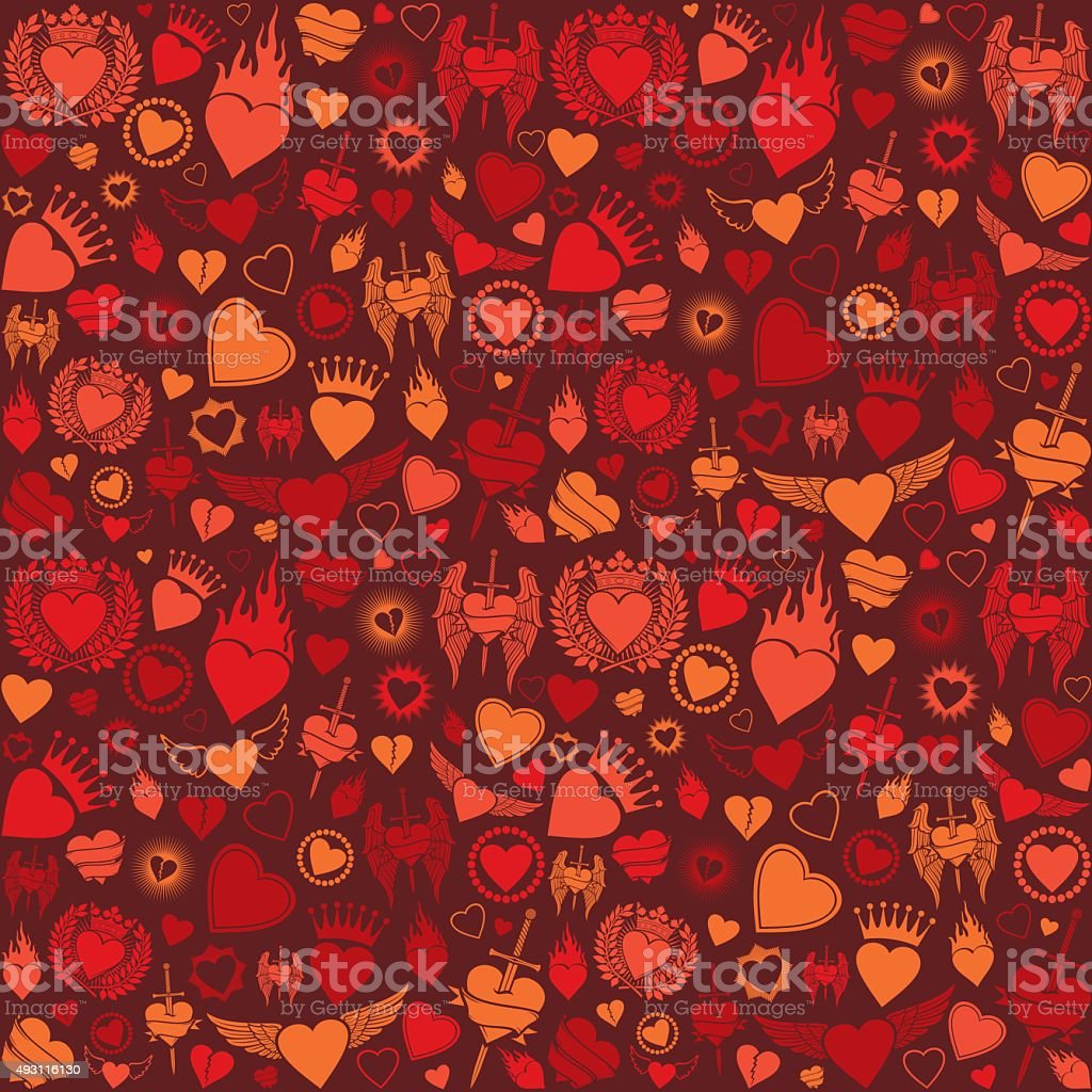 heart seamless pattern (valentine's day background) vector art illustration