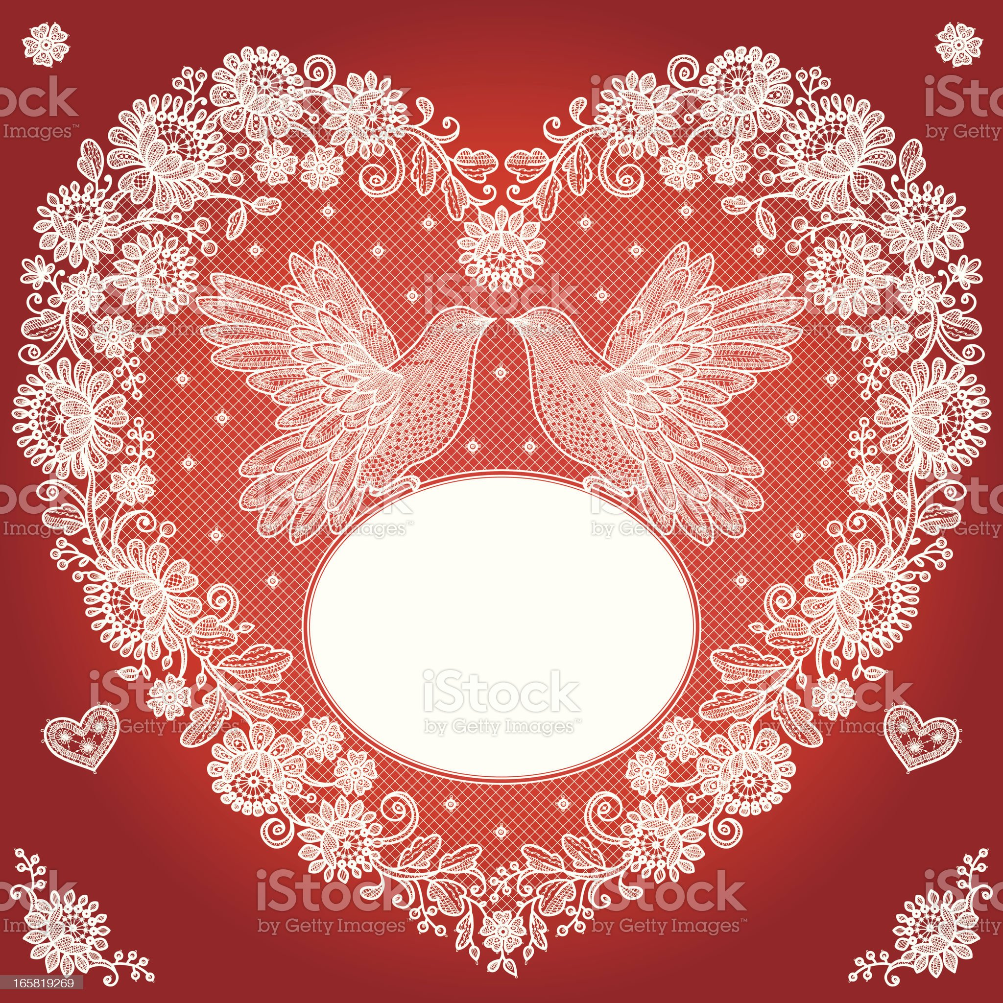 Heart Shape and Birds Lace Frame. royalty-free stock vector art