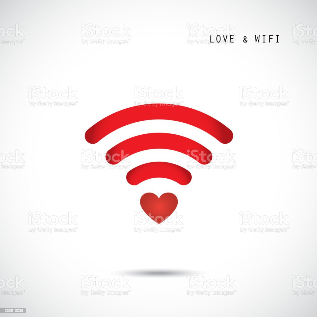 Heart shape and wifi sign. Happy valentine 's day background. vector art illustration