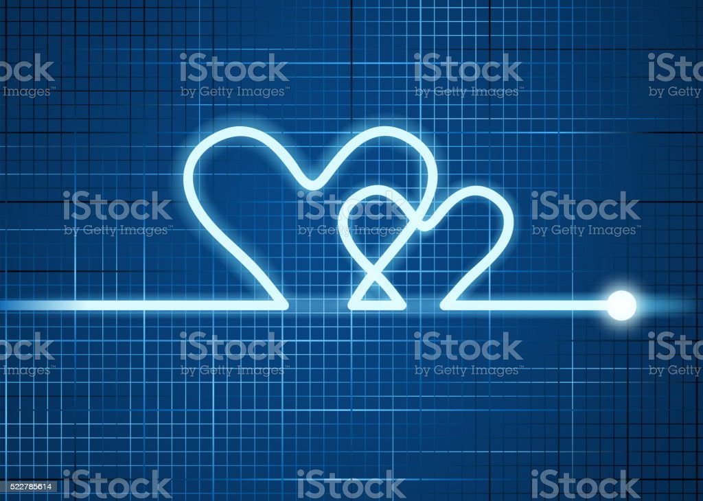 heart shape cardiogram vector art illustration