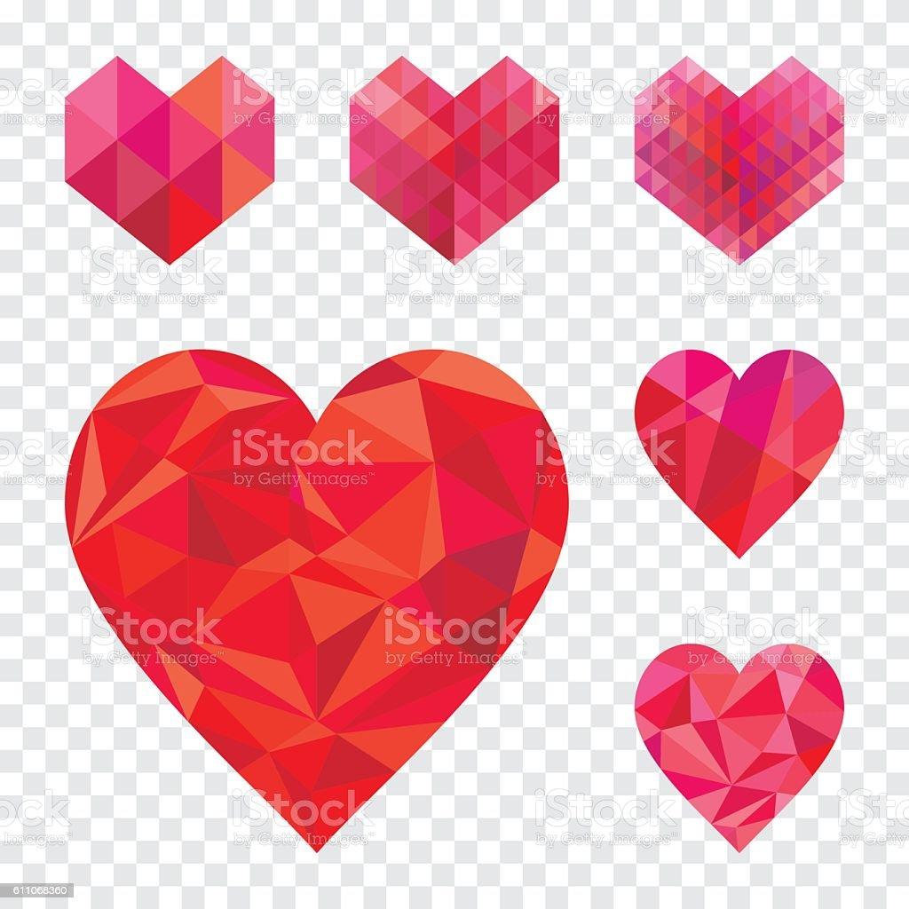 Heart shape collection. vector art illustration