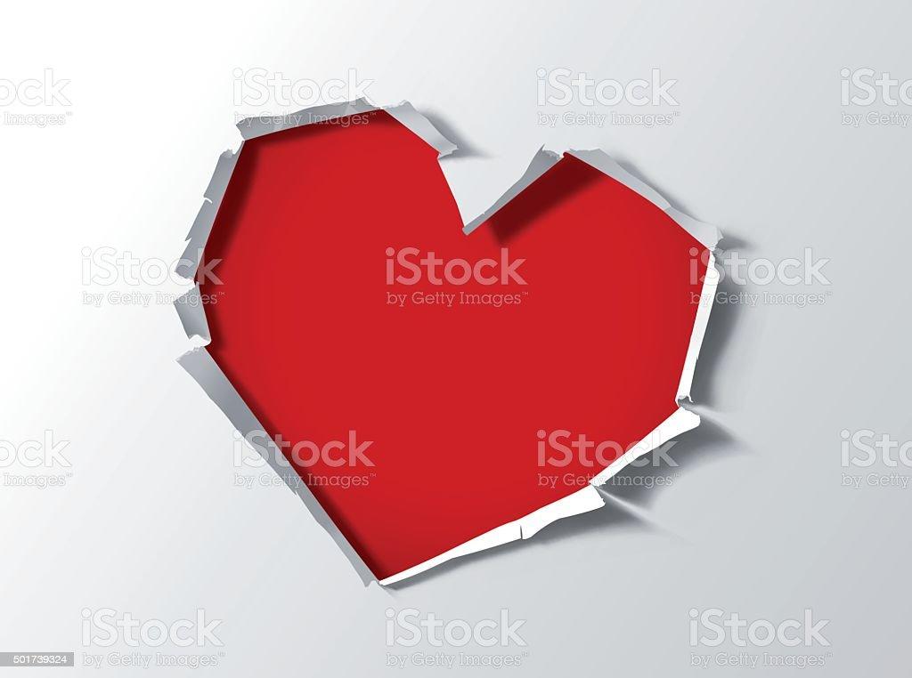 Heart shape hole trough paper vector art illustration