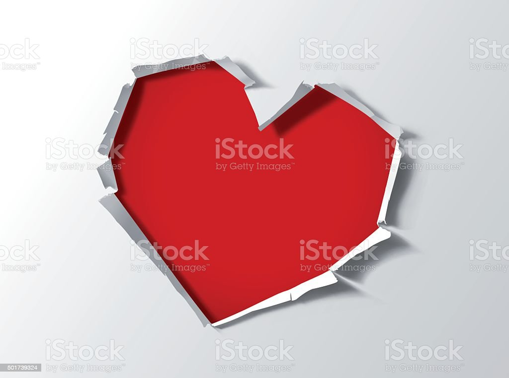 Heart shape hole trough paper vector art illustration