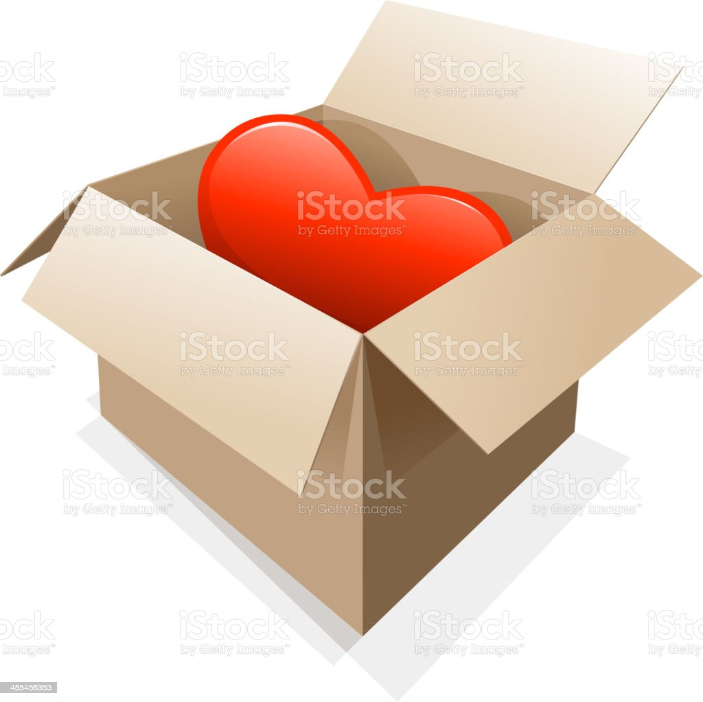 heart shape in cardboard box royalty-free stock vector art