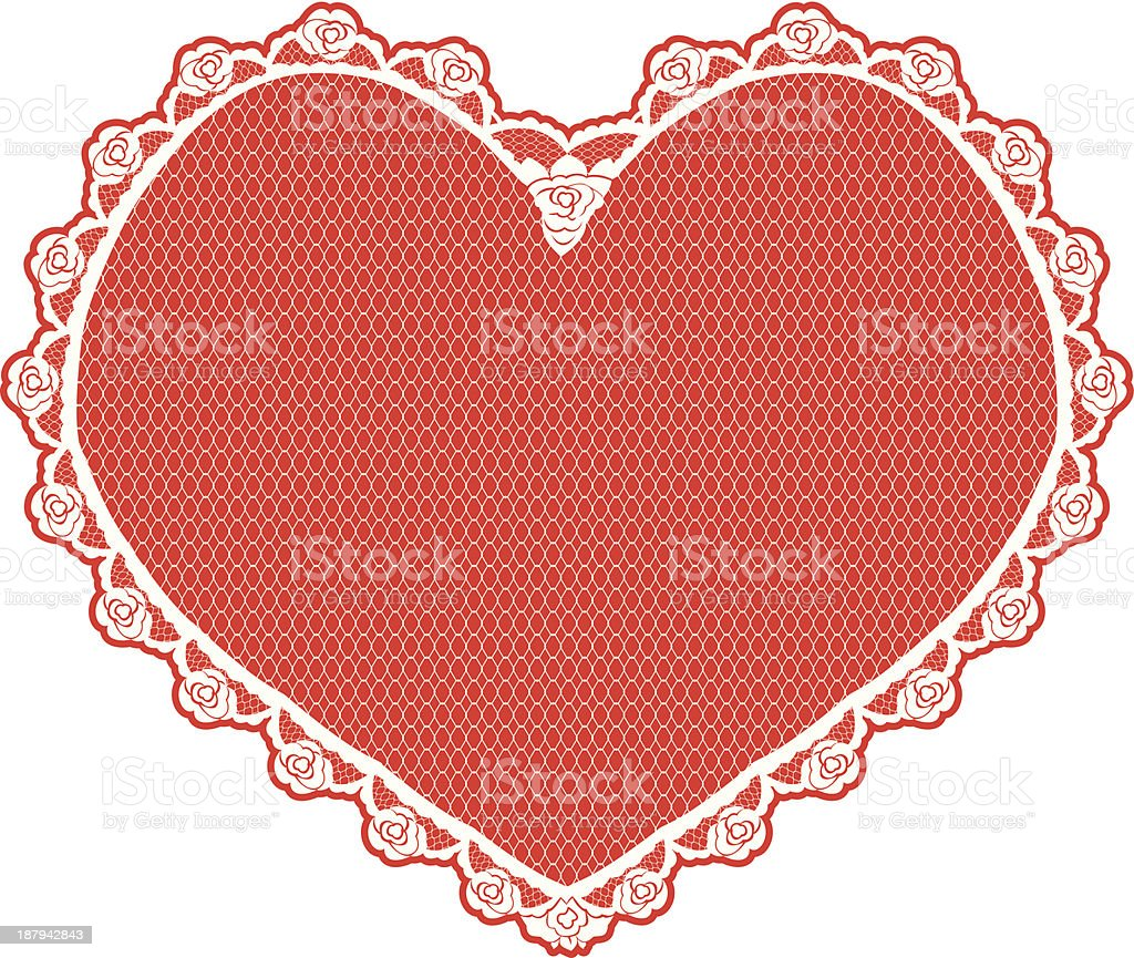 heart shape lace doily royalty-free stock vector art