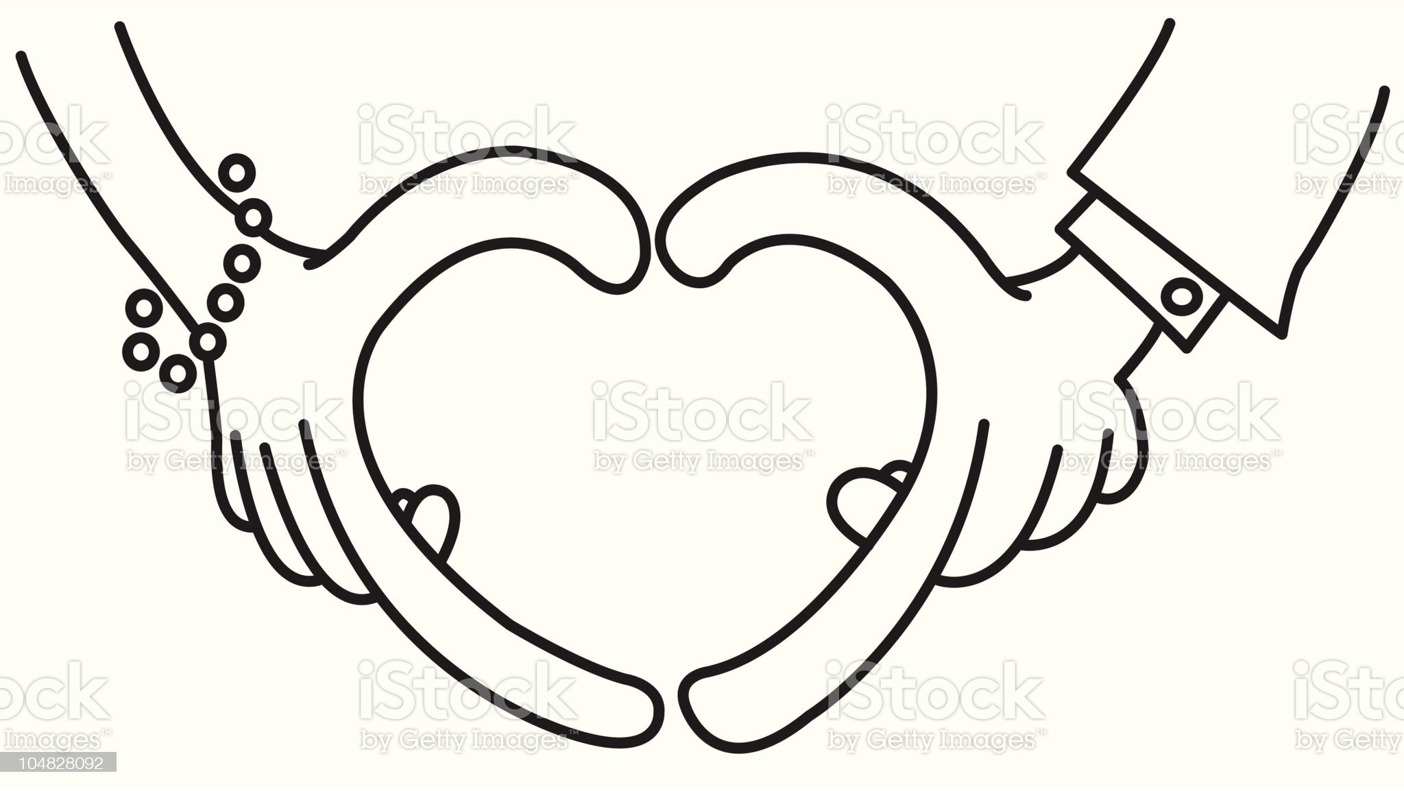 heart shape made of couple palms royalty-free stock vector art