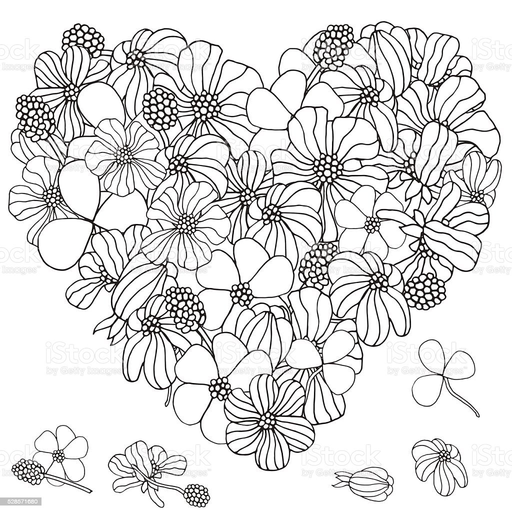 Heart shape pattern with spring flowers vector art illustration
