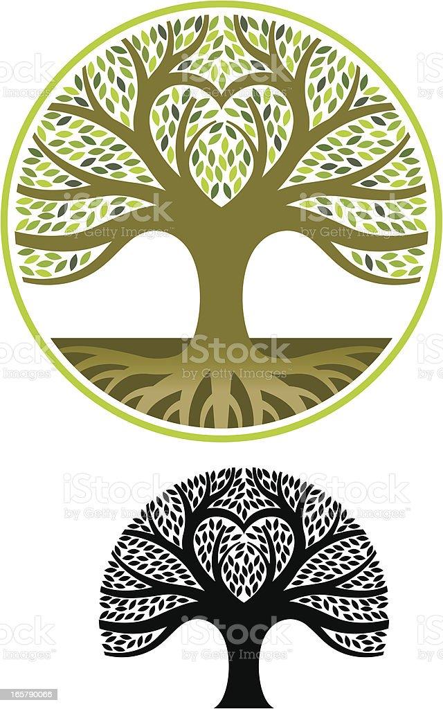 Heart shape tree vector art illustration