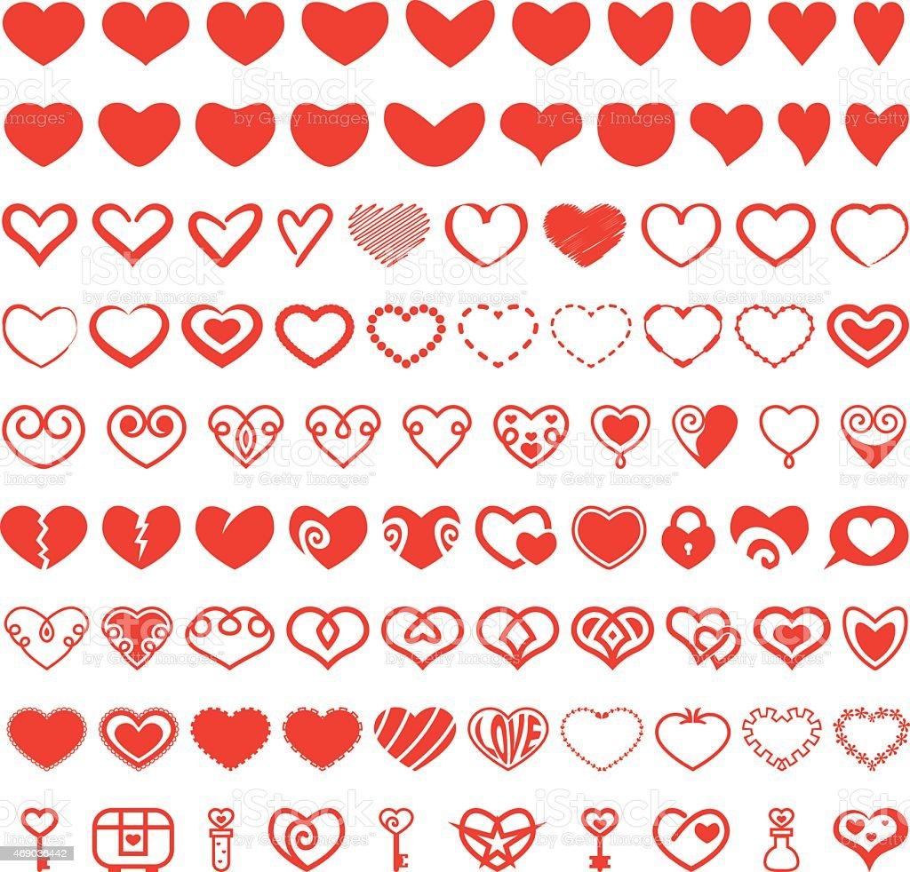 Heart Shape Vector Set vector art illustration