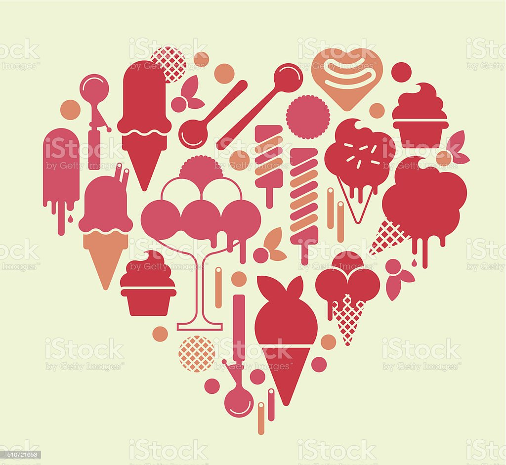 Heart Shape with Ice Cream silhouettes. vector art illustration