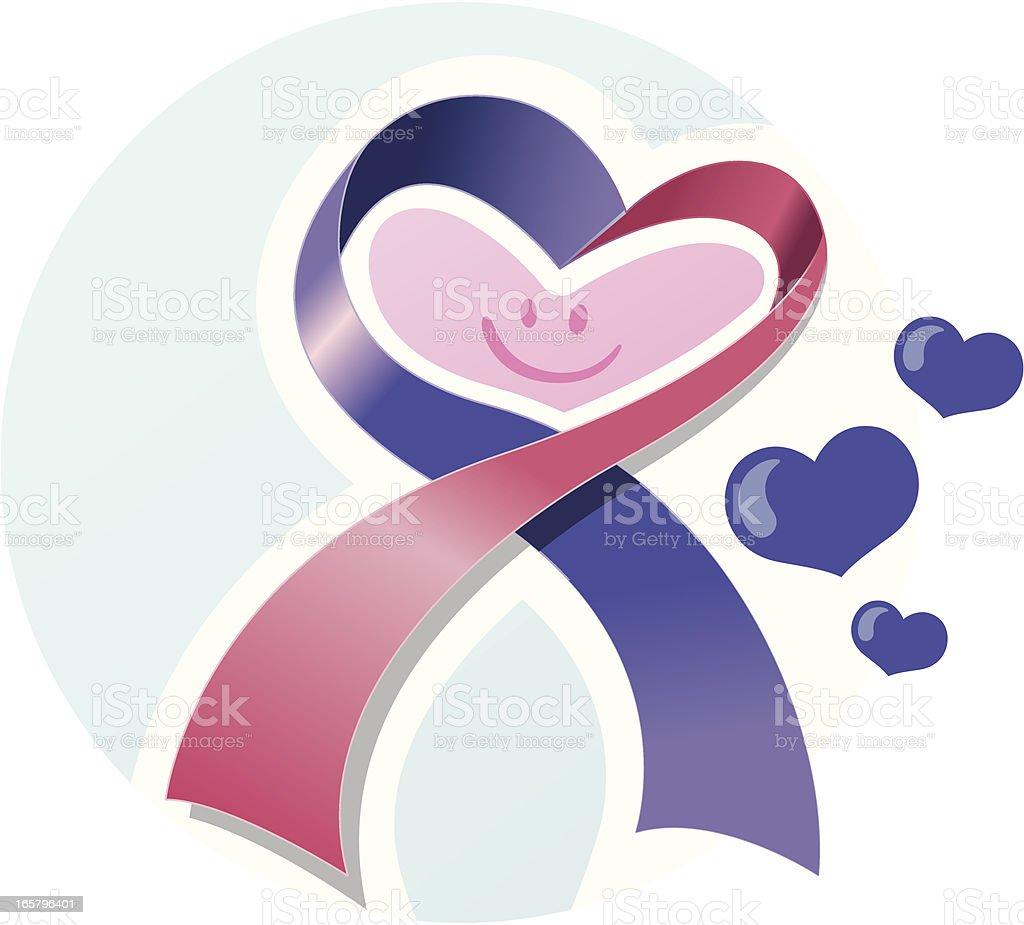 Heart shaped awareness ribbon royalty-free stock vector art
