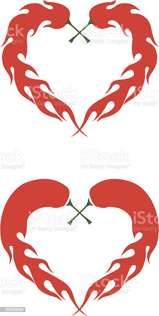 Heart shaped chili peppers royalty-free stock vector art