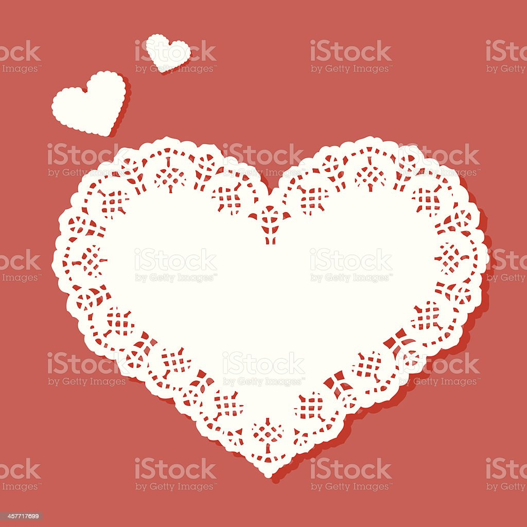 Heart shaped doily with a designer border vector art illustration