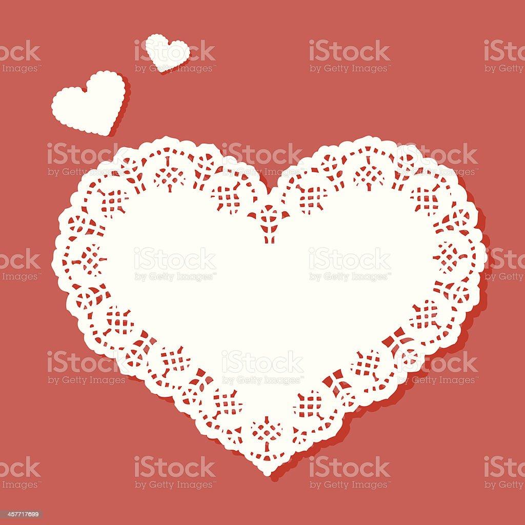 Heart shaped doily with a designer border vector art illustration