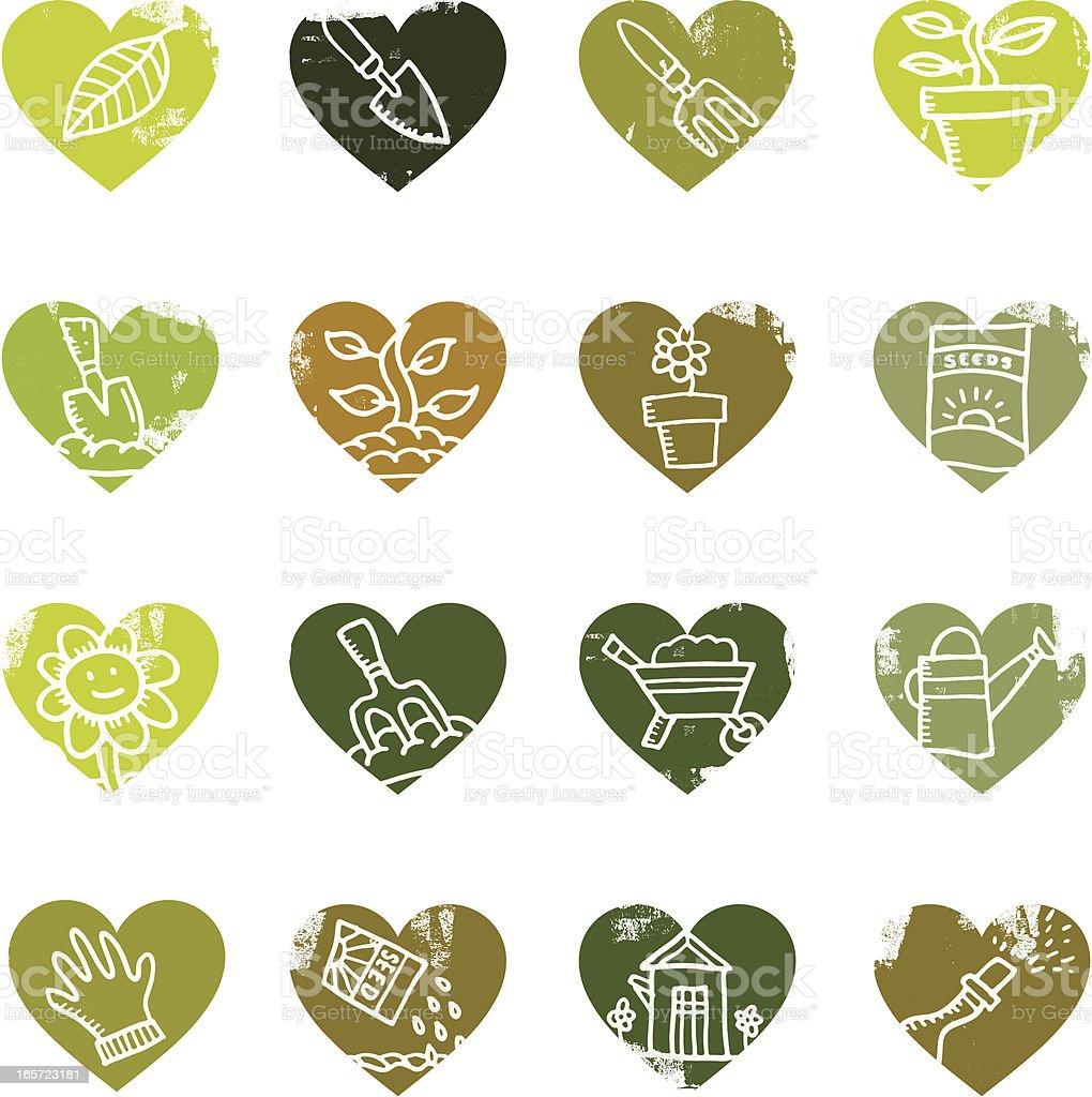 Heart shaped gardening icons royalty-free stock vector art