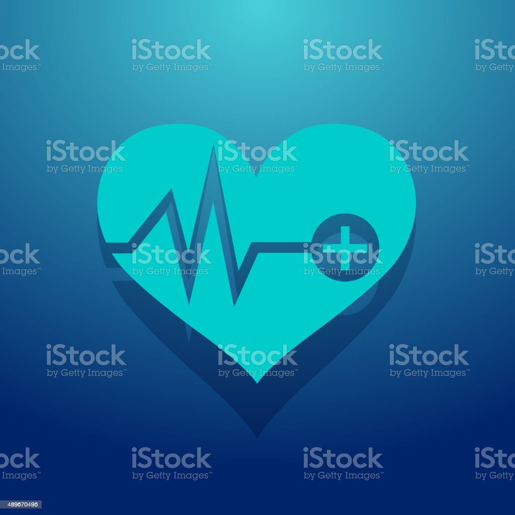 Heart Shaped Icon with First aid Sign vector art illustration