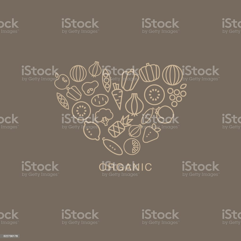 Heart Shaped Logo Composed Of Fruits And Vegetables On Brown vector art illustration