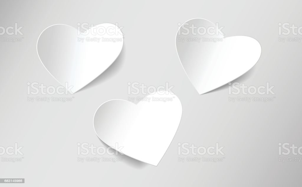 heart shaped note paper vector art illustration