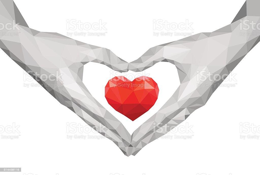heart shaped polygonal hands holding heart monochrome vector art illustration